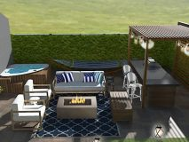 Contemporary Hamptons style backyard patio design with modern outdoor furniture, a navy blue trellis outdoor rug, a modern firepit, a triangle hot tub, a modern pergola and outdoor kitchen, and unique patio lighting.
