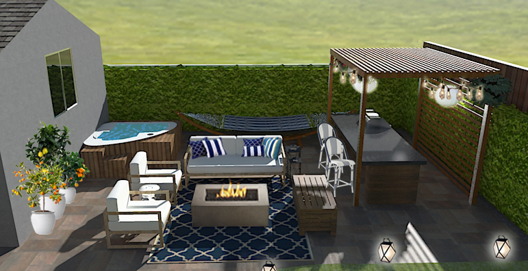 Contemporary Hamptons style backyard patio design with modern outdoor furniture, a navy blue trellis outdoor rug, a modern firepit, a triangle hot tub, fruit trees, a hammock, a modern pergola and outdoor kitchen, and unique patio lighting.
