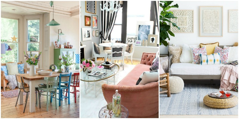 Eclectic dining room with mixed color chairs; glam small space with black and white stripe curtains and a blush pink, velvet tufted sofa and glass and gold coffee table; bohemian living room with a mix of pillows and wood carved wall art.