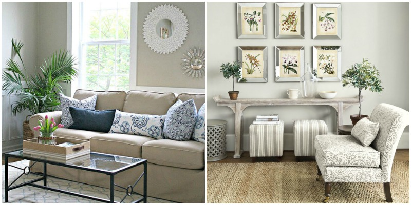 Neutral coastal, transitional living room with white slipcovered sofa and gallery wall; neutral living room with console table and benches underneath.