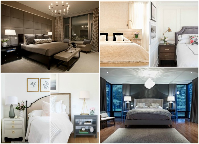 A collage of 4 different bedroom designs