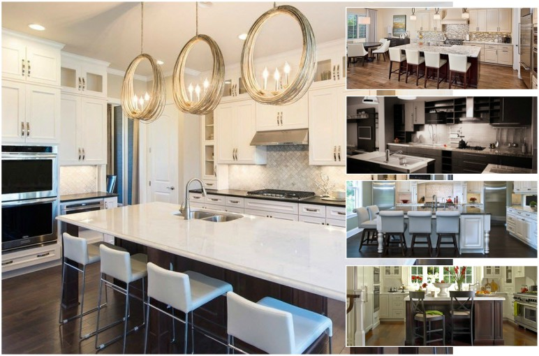 Contemporary kitchen with herringbone backsplash, white counters and stools, and unique ring shaped pendant lights