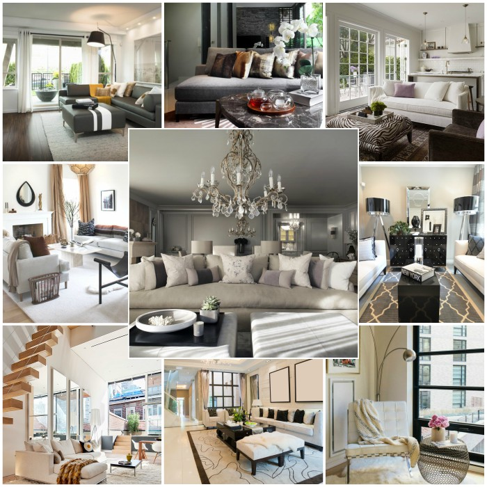 Collage of images showing different living room styles