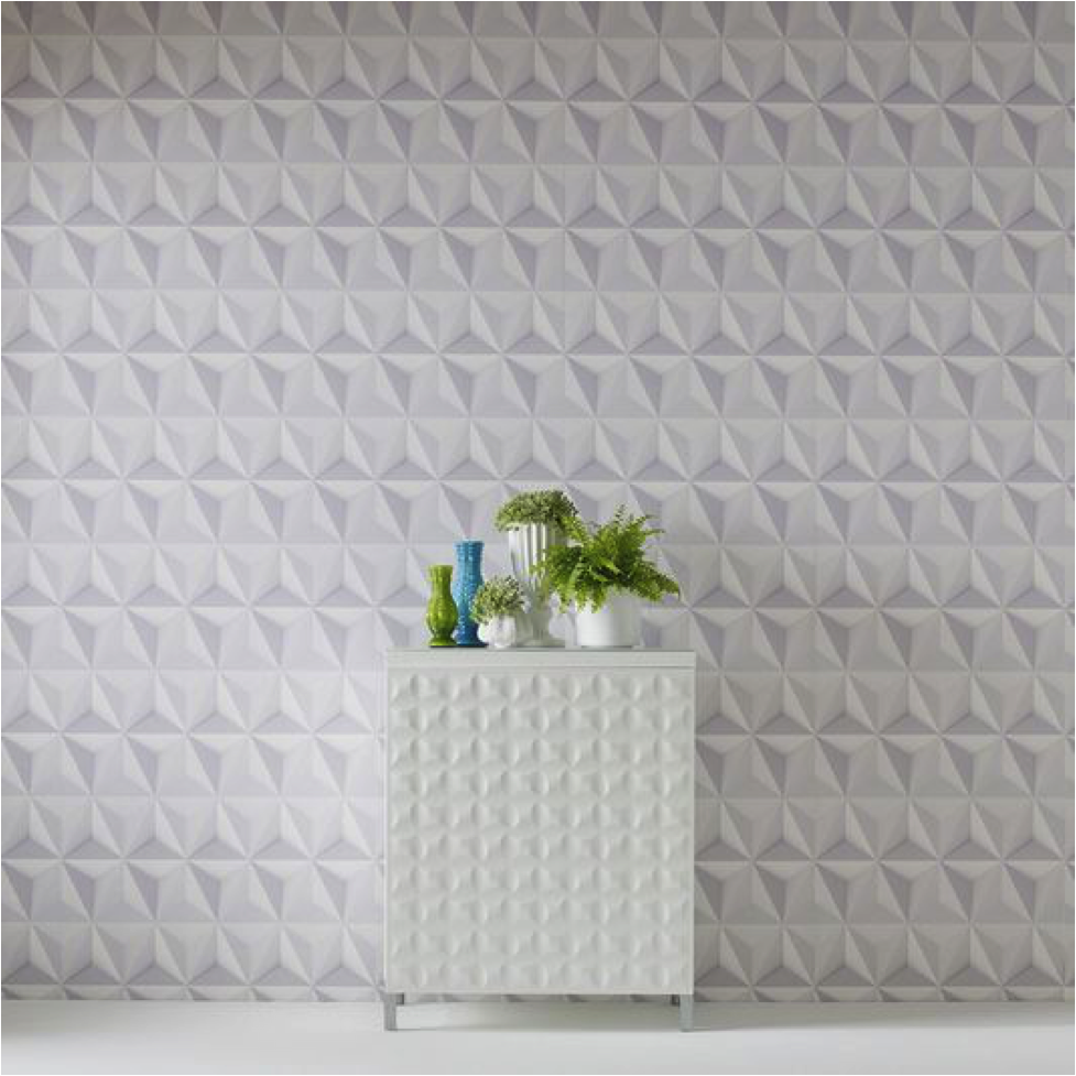 Modern White Geometric Wallpaper