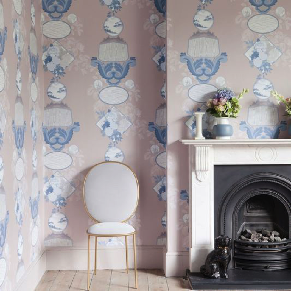 Vintage Pink and Navy Blue Wallpaper