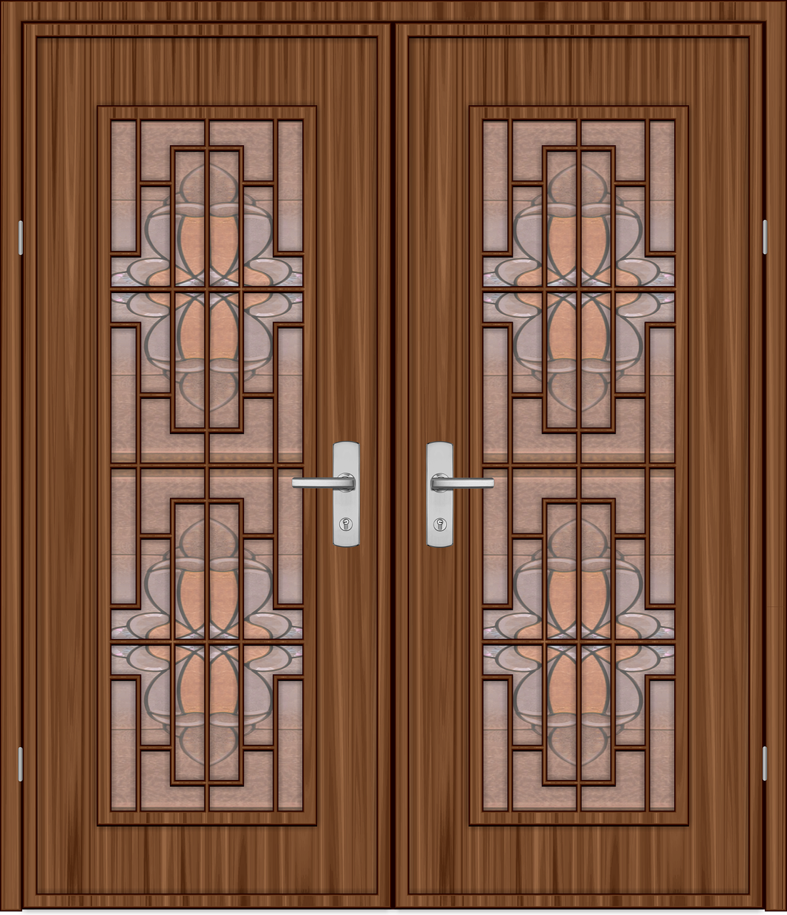 Wood doors with intricate inlays