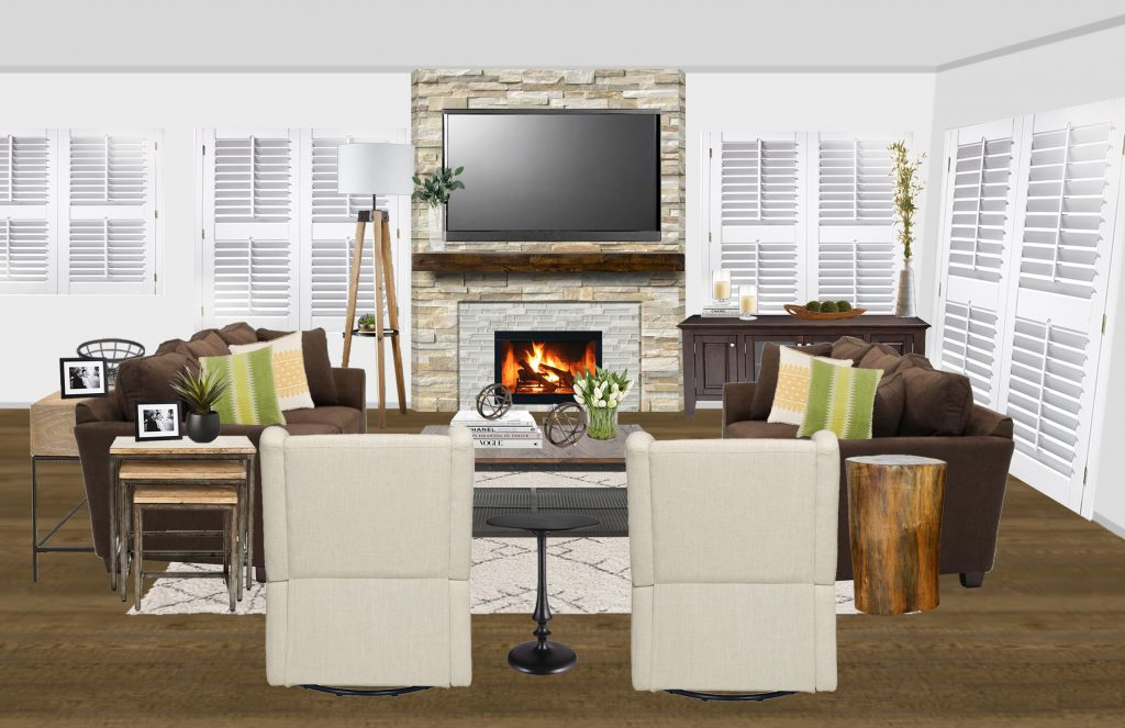 Modern Rustic Living Room-Render
